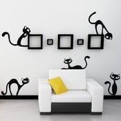 Černá samolepka na stěnu Wallvinil Malé nezbedné kočky