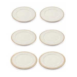Sada 6 bílých vánočních dekorativních plastových talířů Villa d'Este XMAS Piatto Blanco Bordo, ⌀ 33 cm