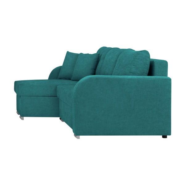 Canapea pe colț, extensibilă, cu 3 locuri și spațiu pentru depozitare Melart Louise, turcoaz