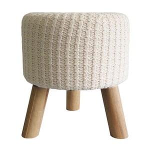 Bílobéžová pletená stolička Stardeco, 35 cm