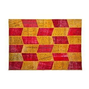 Vlněný koberec Allmode Yellow Red, 150x80 cm