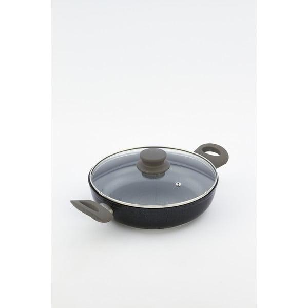 Pánev s pokličkou a šedými úchyty Bisetti Black Diamond, 24 cm