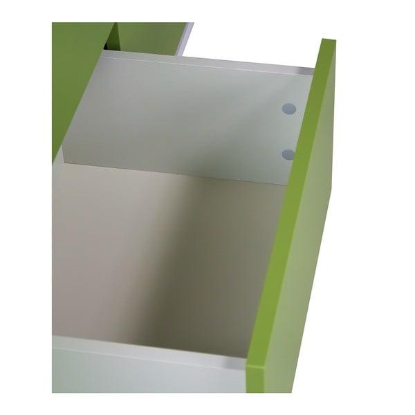 Comodă dublă cu 2 sertare și elemente de detaliu verzi SKANDICA Jorgen