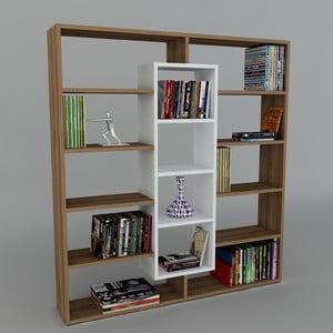 Knihovna Ample Walnut/White, 22x125x135,7 cm