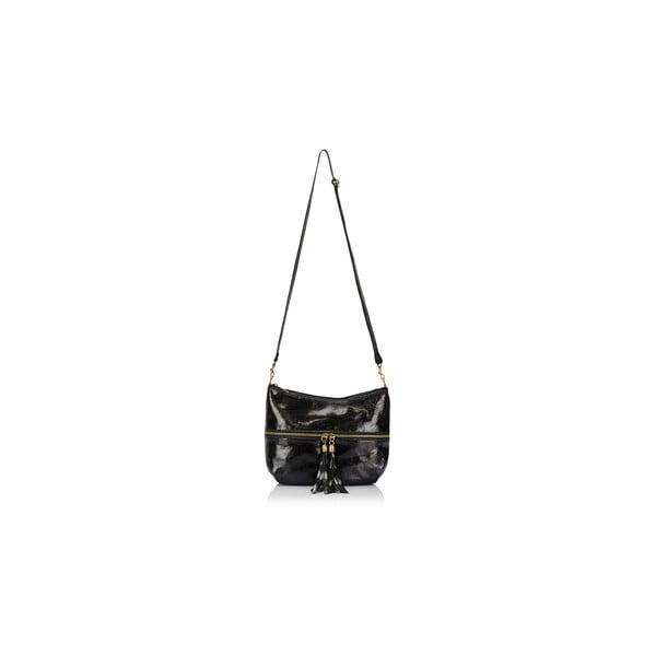 Čierna kožená kabelka Massimo Castelli Laura