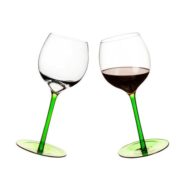 Set 2 pahare  pentru vin cu fund rotund Sagaform, verde