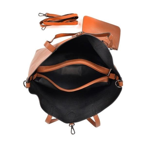 Koňakově hnědá kožená kabelka Roberta M Masna