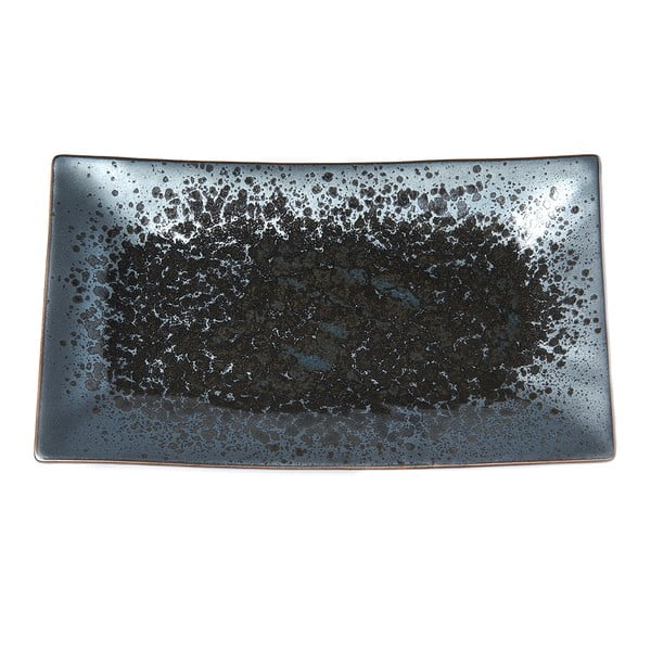 Czarno-szary półmisek ceramiczny MIJ Pearl, 33x19 cm