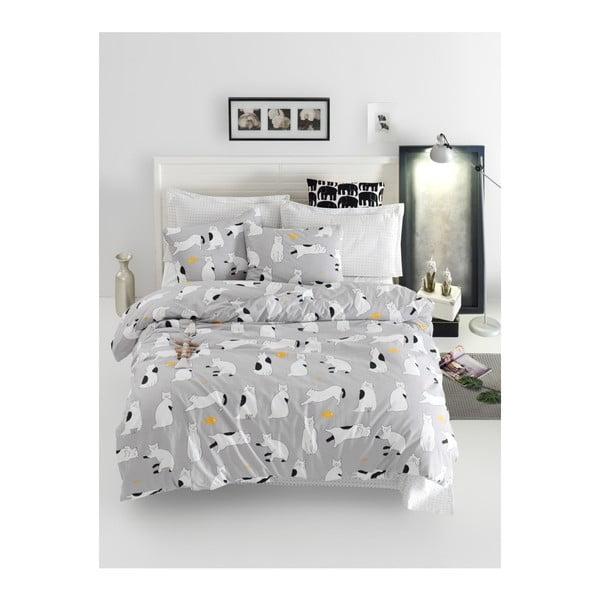 Lenjerie de pat cu cearșaf din bumbac ranforce, pentru pat dublu Mijolnir Liana Grey, 200 x 220 cm