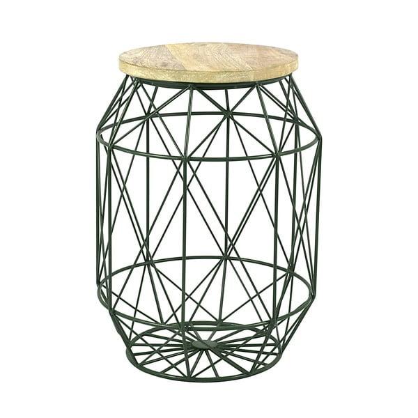 Zelený stolek s deskou z mangového dřeva HF Living Dome