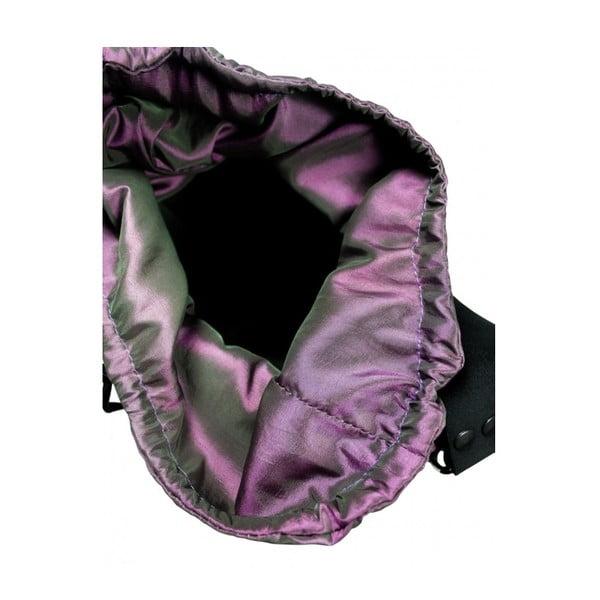 Plstěná vyšívaná taška s tmavým koženým popruhem Folk Kohoutí