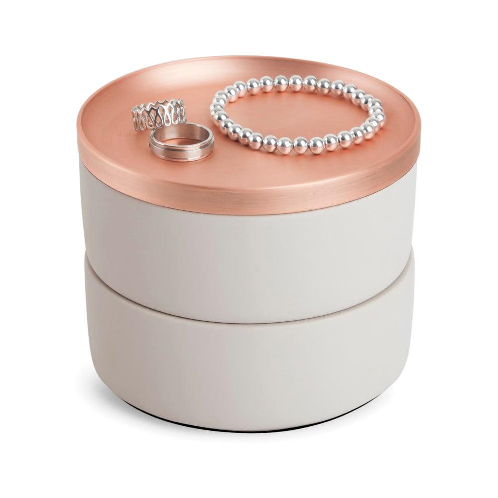 Šperkovnice s víčkem v barvě růžového zlata Umbra Tesora