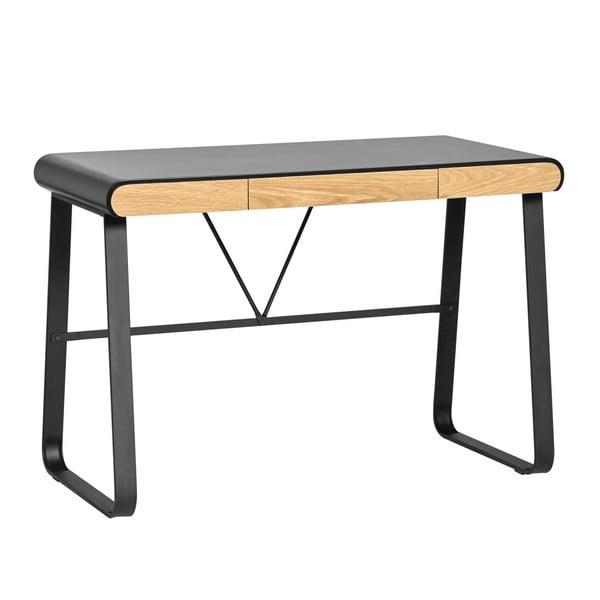 Čierny pracovný stôl s 3 zásuvkami Marckeric Astrid