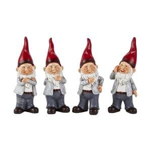 Sada 4 dekorativních vánočních sošek KJ Collection Dwarfy, výška 20 cm