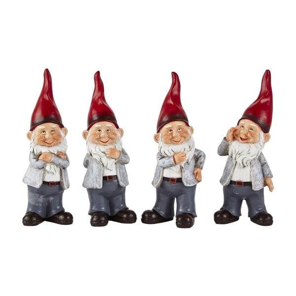 Sada 4 dekoratívnych vianočných sošiek KJ Collection Dwarfy, výška 20 cm