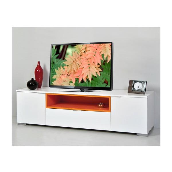Televizní stolek Grand, bílý/oranžový