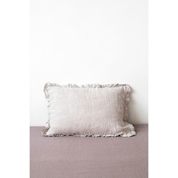 Přírodní lněný povlak na polštář s řaseným lemem Linen Tales, 50 x 60 cm