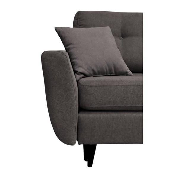 Tmavě šedá trojmístná rozkládací pohovka s černými nohami Mazzini Sofas Jasmin