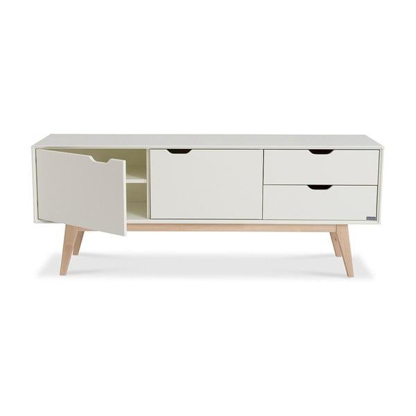 Bílý ručně vyráběný TV stolek z masivního březového dřeva Kiteen Kolo