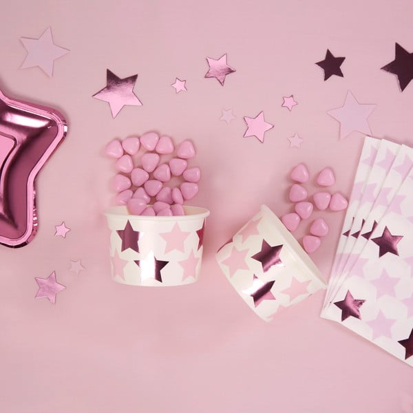 Zestaw 8 niskich kubeczków papierowych Neviti Little Star Pink