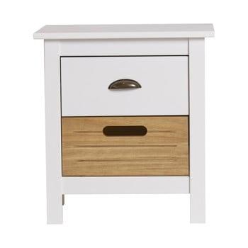 Noptieră cu 2 sertare din lemn masiv de pin Marckeric Ibiza, alb de la Marckeric