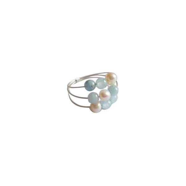Stříbrný prsten Pearl and Aquamarine Confetti, vel. 50 (perly a akvamarín)