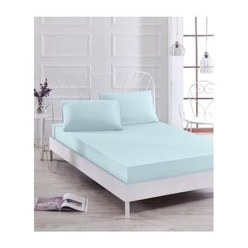 Set cearșaf elastic și față de pernă Basso Azul, 100 x 200 cm de la EnLora Home