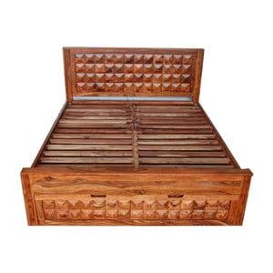Pat dublu din lemn de palisandru cu spațiu de depozitare Massive Home Roxy, 180 x 200 cm