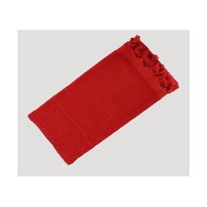 Červená ručně tkaná osuška z prémiové bavlny Homemania Turkish Hammam, 90 x 180 cm