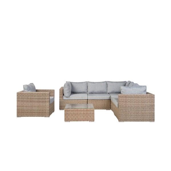 Set hnedého záhradného nábytku z umelého ratanu Monobeli Palermo