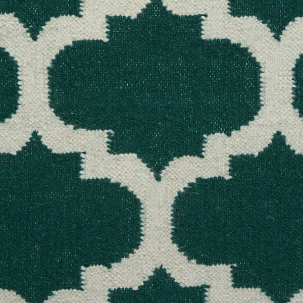 Vlněný koberec Geometry Guilloche Green & White, 200x300 cm