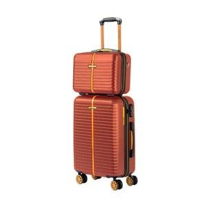 Set hnědého kosmetického kufříku a kufru na kolečkách Travel World