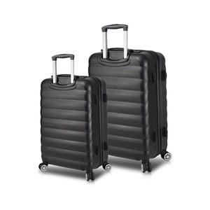 Sada 2 černých cestovních kufrů na kolečkách s USB porty My Valice RESSNO Cabin & Medium