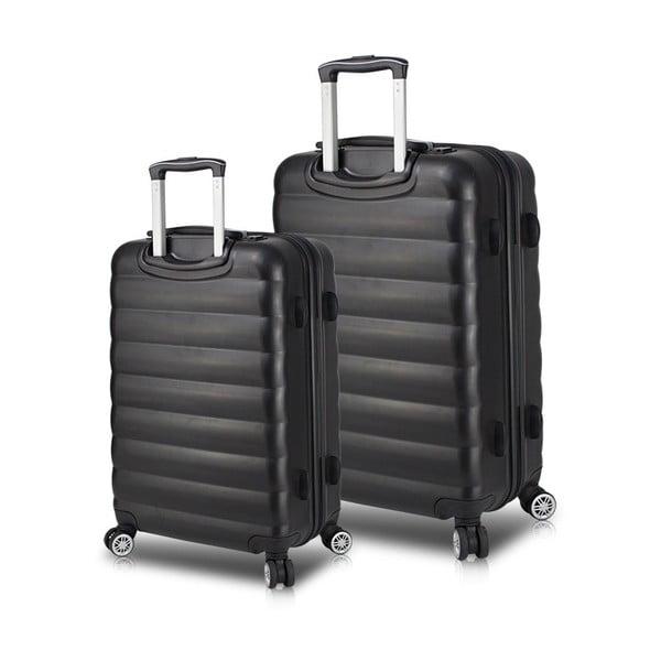 RESSNO Cabin & Medium 2 fekete görgős bőrönd USB csatlakozóval - My Valice