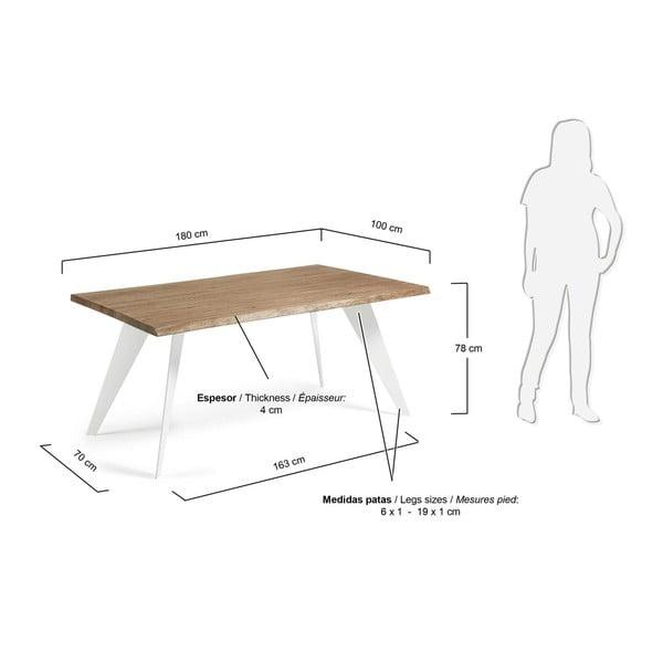 Jídelní stůl s tmavě hnědou deskou a bílým podnožím La Forma Nack, 100x180cm