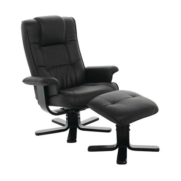 Czarny rozkładany fotel z podnóżkiem Actona Limbo
