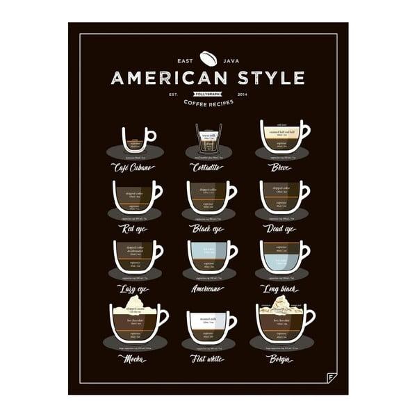 Plakát Follygraph American Style Coffee Black, 50x70 cm