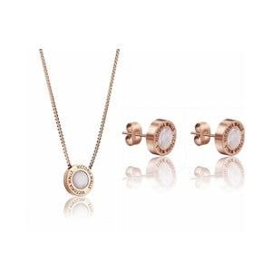 Set náhrdelníku a náušnic z chirurgické oceli v barvě růžového zlata Victoria Walls Lia