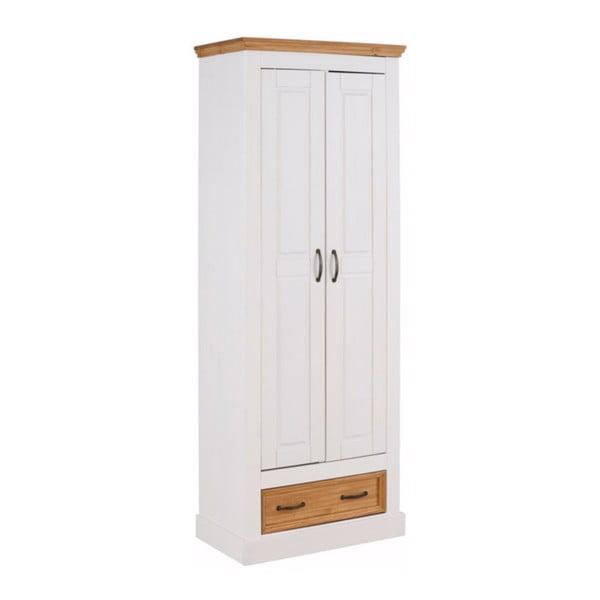 Bílá dvoudveřová šatní skříň z masivního borovicového dřeva Støraa Suzie