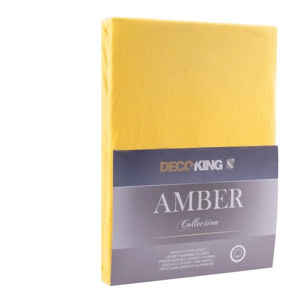 Žluté prostěradlo DecoKing Amber Collection, 220-240 x 200 cm