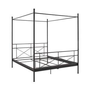 Černá kovová dvoulůžková postel s nebesy Støraa Tanja, 160x200cm