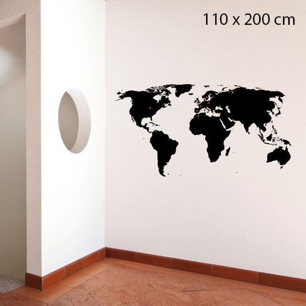 Samolepka World, 200x110 cm