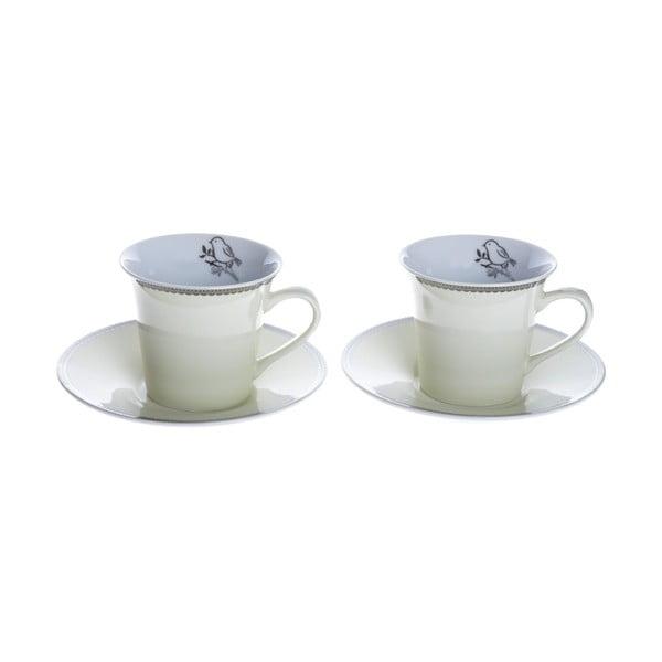 Porcelánové šálky na espresso s podšálky Krémová, 2 ks
