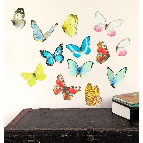 Samolepka na viac použití Watercolor Butterflies, 40×30 cm