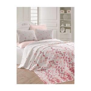 Růžovobílý lehký přehoz přes postel Coretta LP, 200x235cm