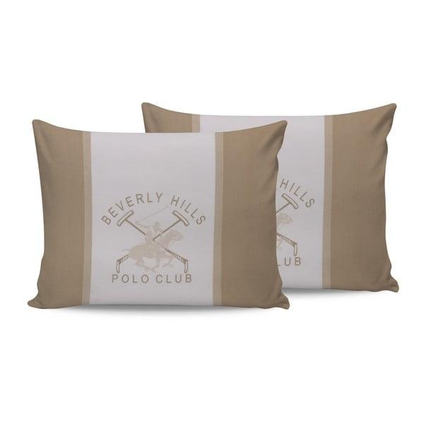 Set 2 fețe de pernă din bumbac Polo Club Beige,50x70cm