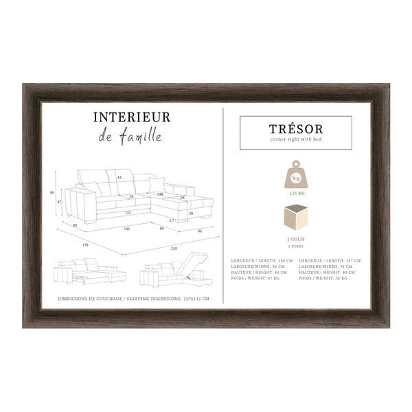 Karamelová rozkládací sedačka Interieur De Famille Paris Tresor, pravý roh