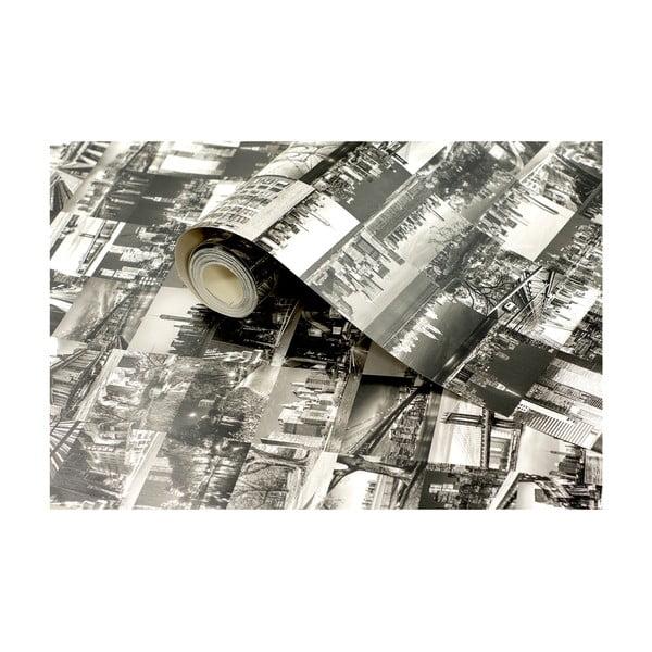 Role tapety Černobílé město, 53x1005 cm