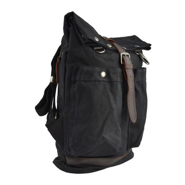 Černý batoh s koženými detaily Adventurer