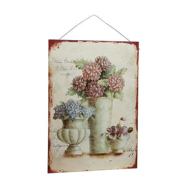 Kovový obraz Antique Flores